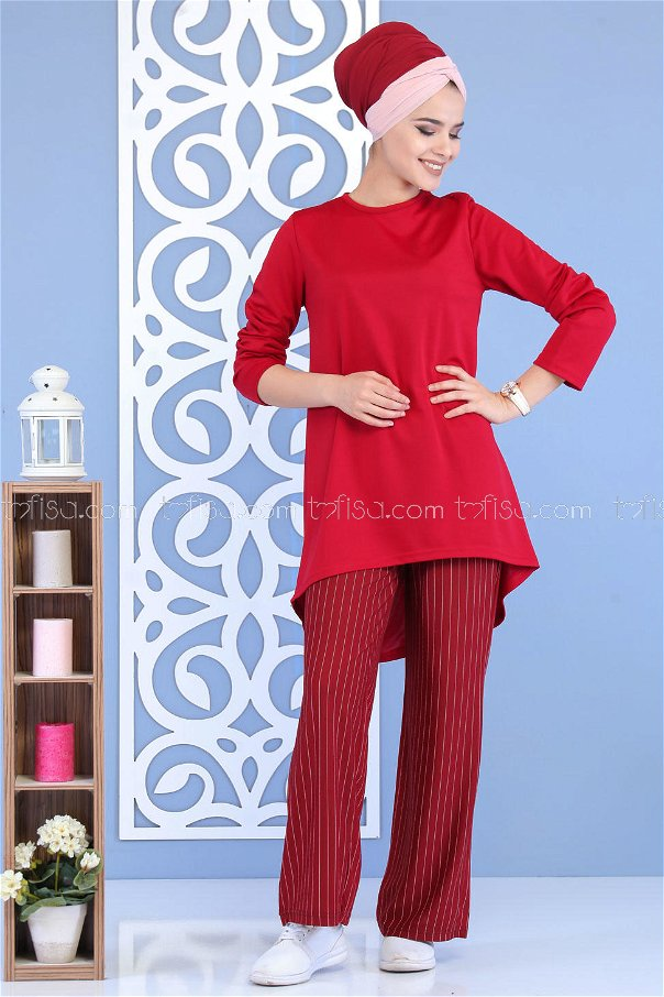 ( 2 Pieces ) ** Tunic and pants Claret Red - 02 7143