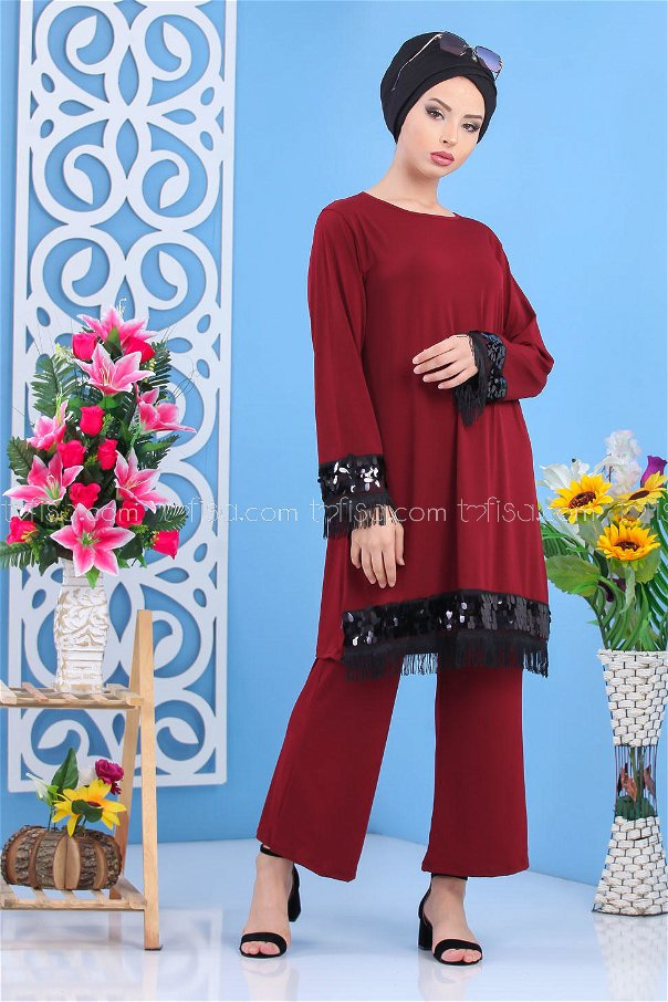 ( 2 pieces ) ** Tunic and pants claret red - 02 7531