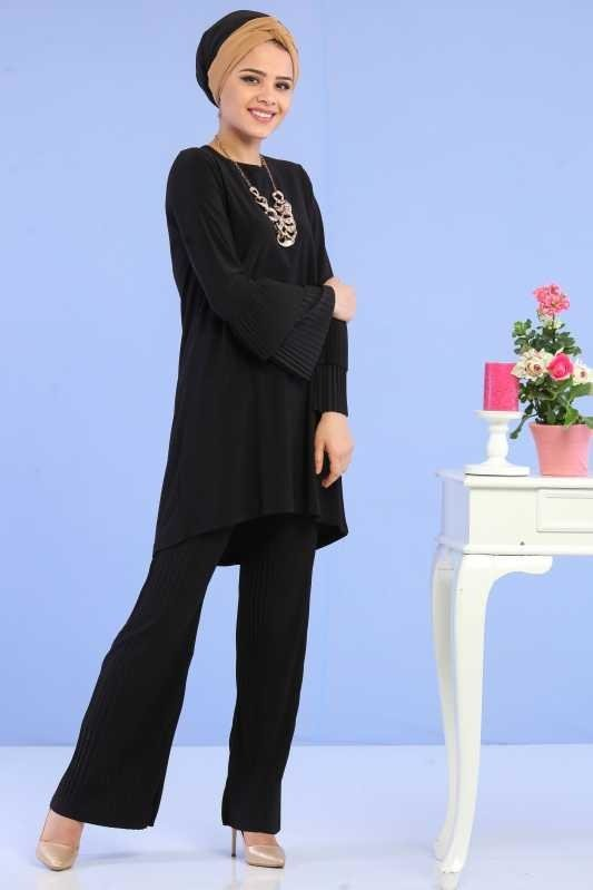 ( 2 Pieces ) Tunic and Pants Combine - black 02 6699
