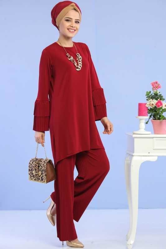 ( 2 Pieces ) Tunic and Pants Combine - Claret Red 02 6699