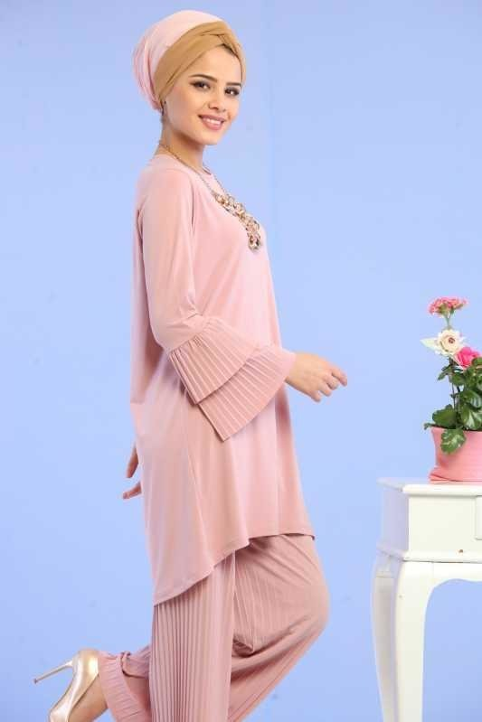 ( 2 Pieces ) Tunic and Pants Combine - Powder 02 6699