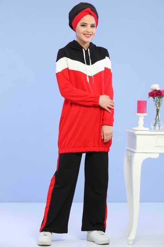 ( 2 Pieces ) Tunic and pants Combine - Red 02 6690