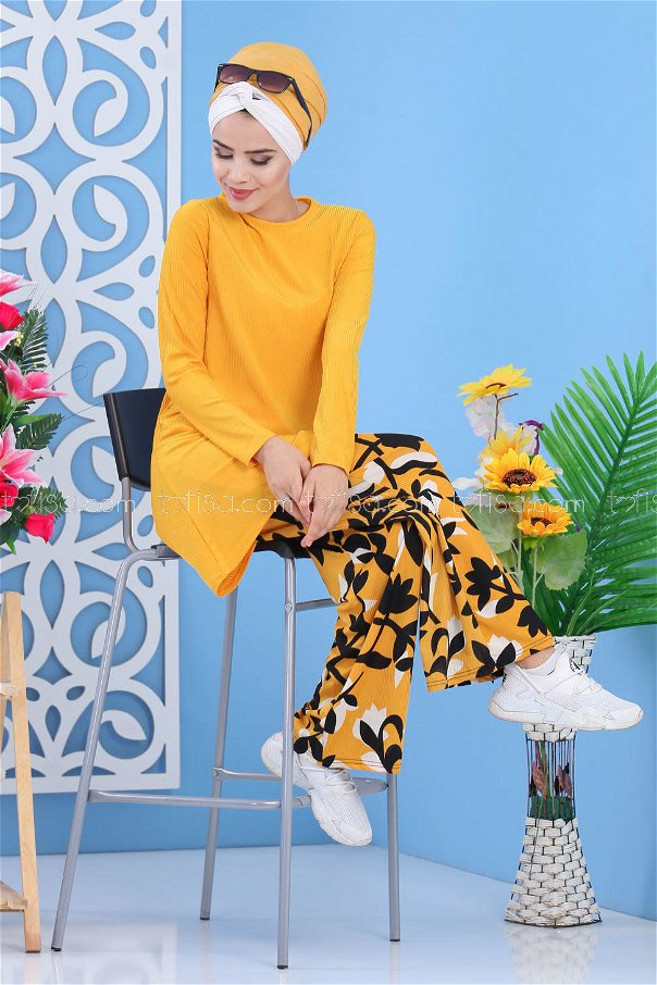 ( 2 pieces ) ** Tunic and pants Mustard - 02 7413