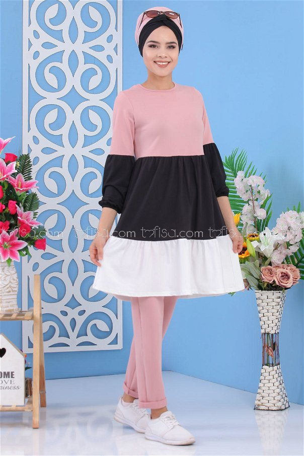 ( 2 Pieces )** Tunic and pants PINK- 02 7245