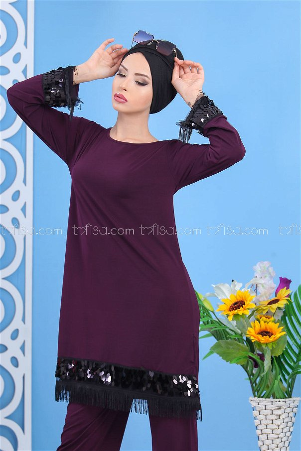 ( 2 pieces ) ** Tunic and pants Purple - 02 7531