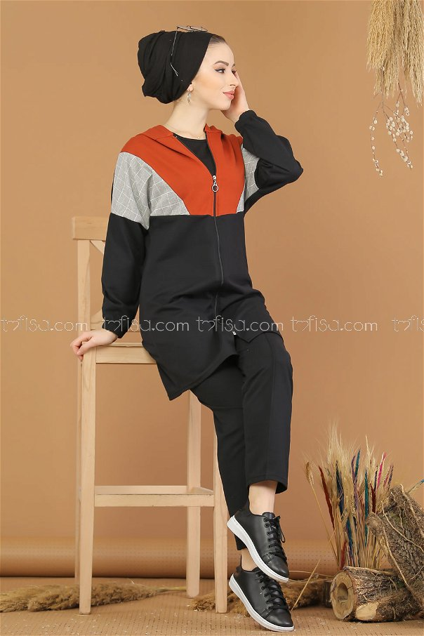 2 pieces Tunic Hooded and Pants black Orange - 4118