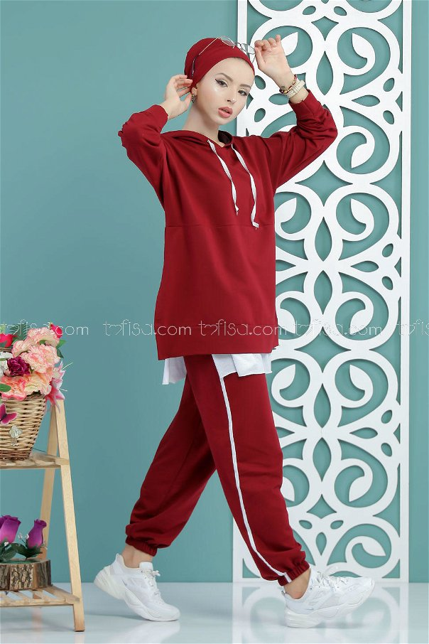 ( 2 pieces ) ** Tunic Hooded and pants claret red - 02 7650