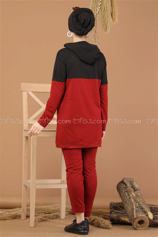 ( 2 pieces ) ** Tunic Hooded and Pants claret red - 8221