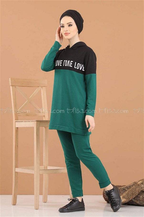 ( 2 pieces ) ** Tunic Hooded and Pants Emerald - 8221