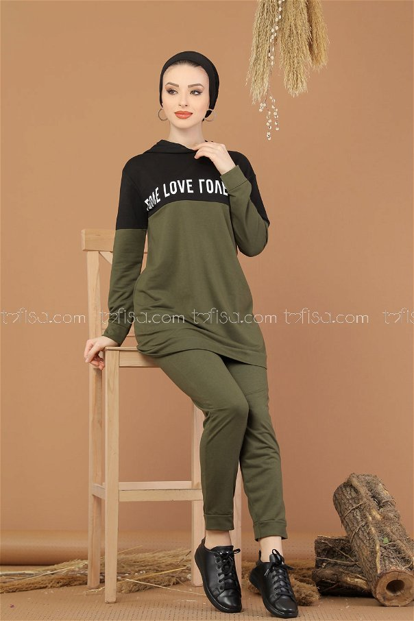 ( 2 pieces ) ** Tunic Hooded and Pants khaki - 8221