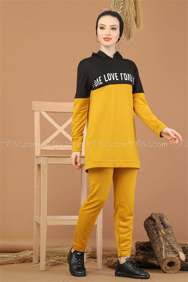 ( 2 pieces ) ** Tunic Hooded and Pants Mustard- 8221