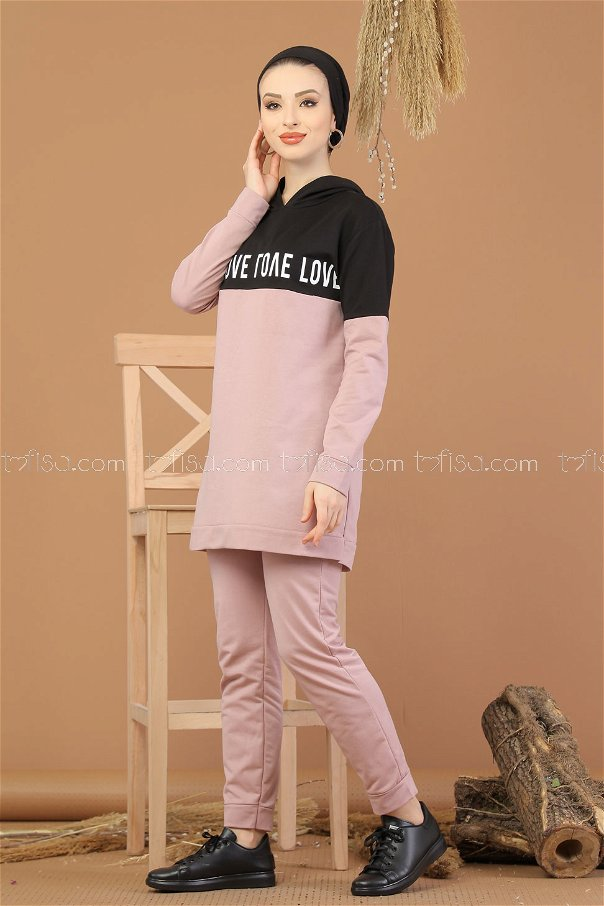 ( 2 pieces ) ** Tunic Hooded and Pants Powder - 8221