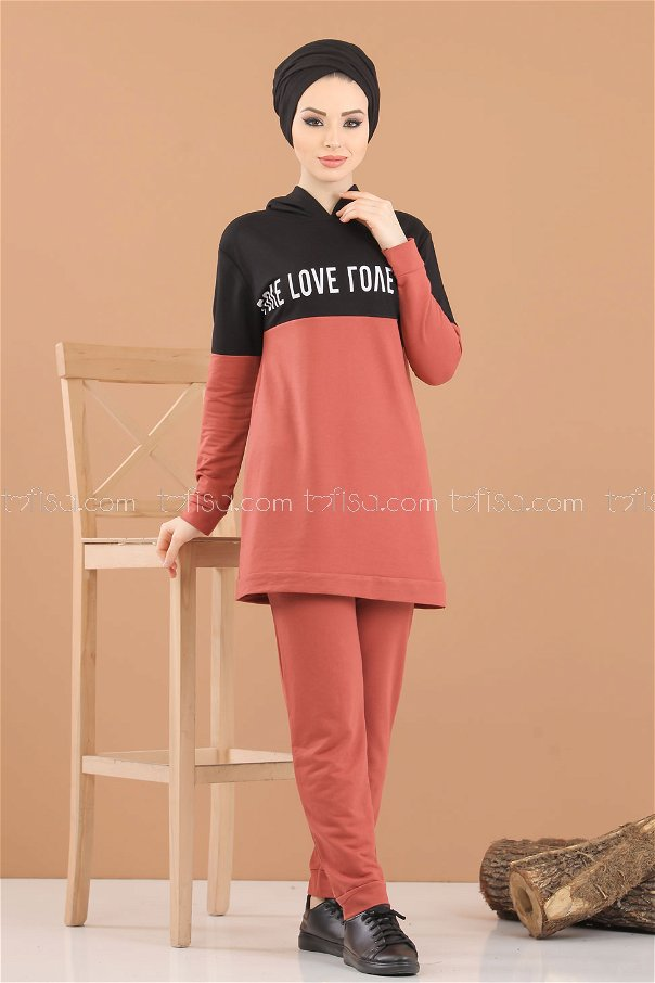( 2 pieces ) ** Tunic Hooded and Pants rose - 8221