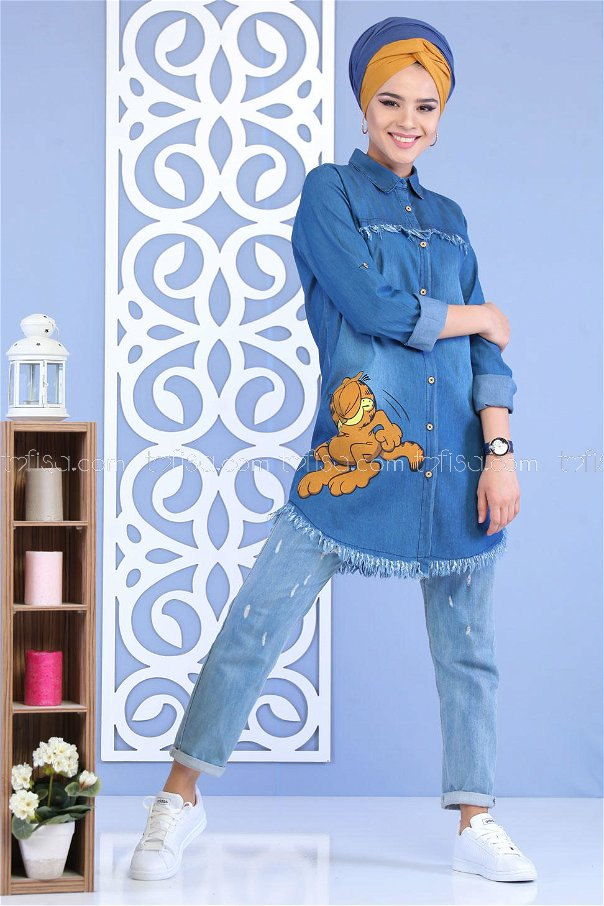 ( 2 Pieces )** Tunic Jeans and T-shirt blue Combine -02 7167