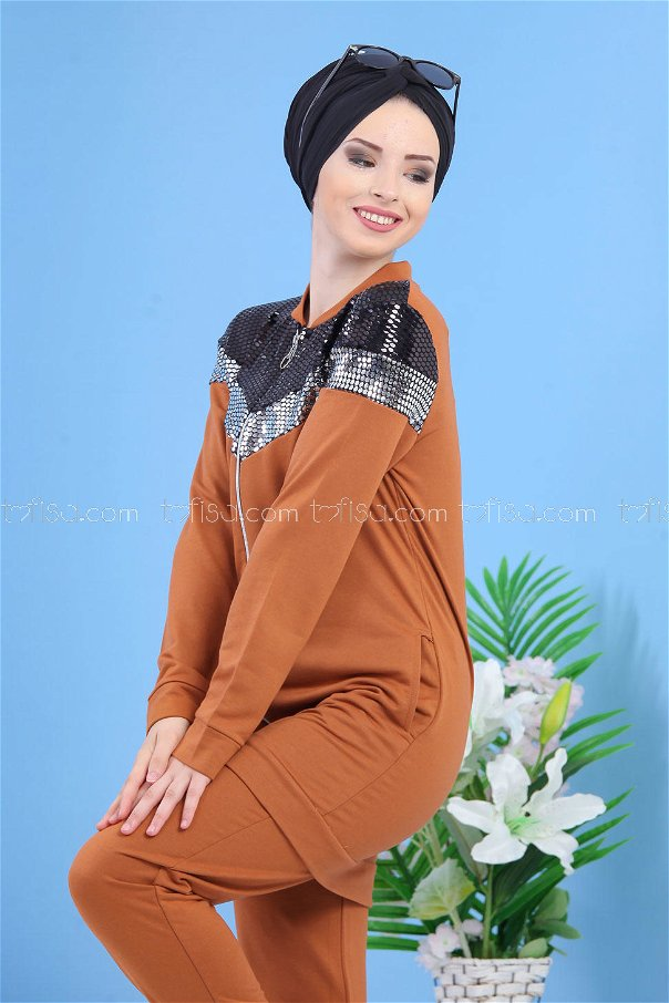 (2 pieces)** TUNIC PANTS BROWN-02 7354
