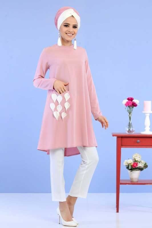 (2 Pieces) Tunic, Pants Combine - Dried Rose White 02 0797