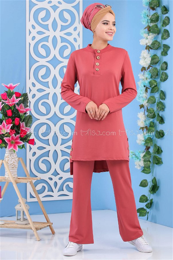 (2 pieces)** TUNIC PANTS DRIED ROSE- 02 6888