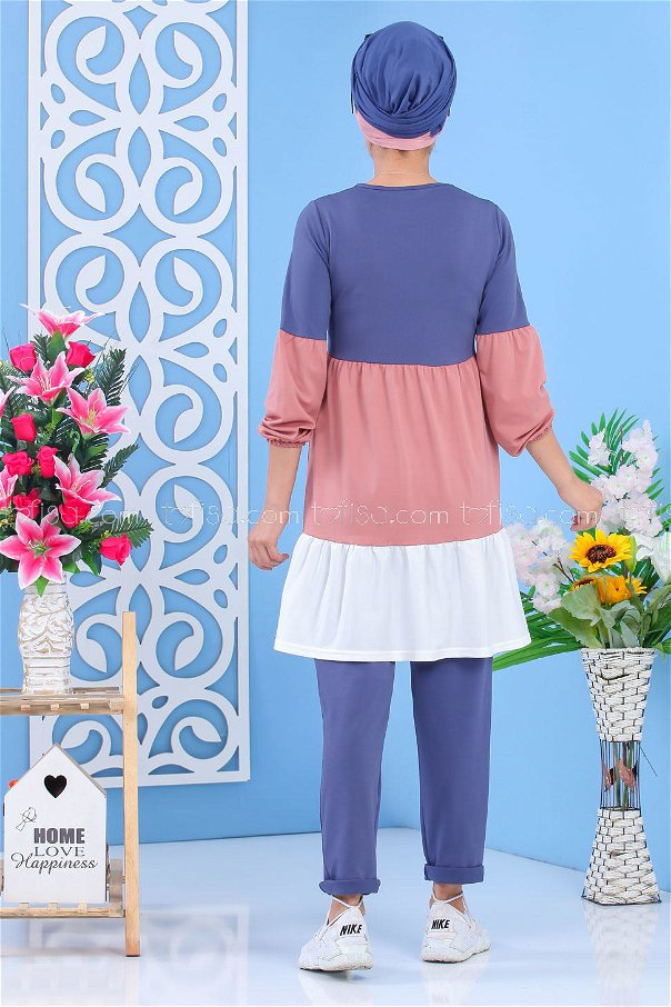 (2 pieces)** TUNIC PANTS-Light blue Dried rose 02 7245