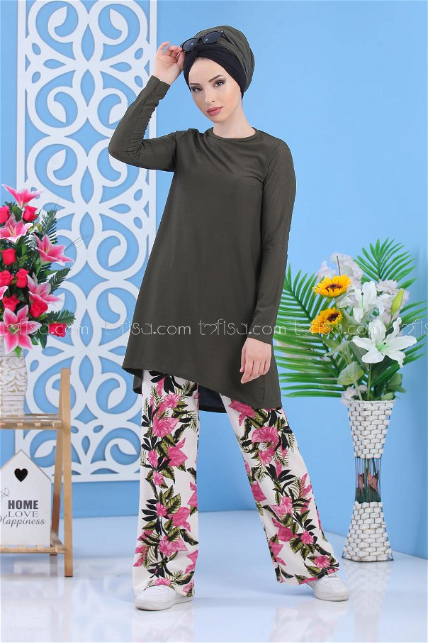(2 pieces)** TUNIC PANTS oily -02 7353