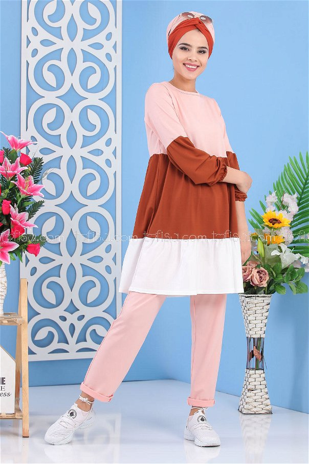 (2 pieces)** TUNIC PANTS PINK Brown - 02 7245
