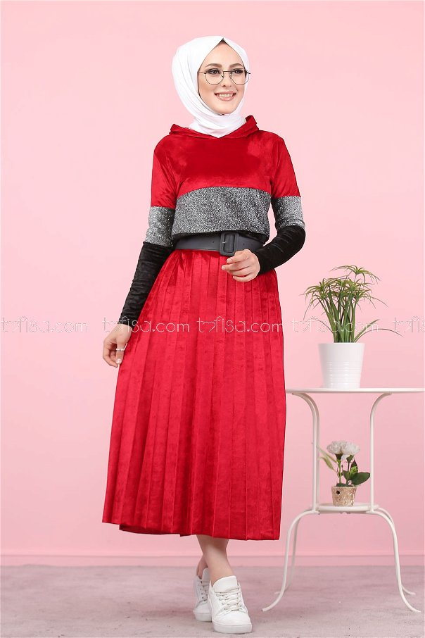 2 pieces Tunic Skirt Silvery Velvet Combine claret red - 8246