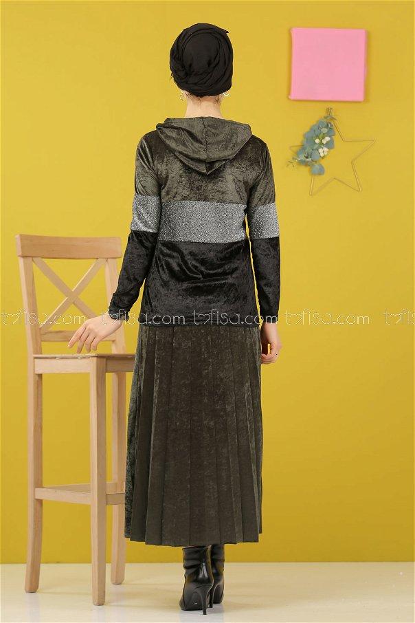 2 pieces Tunic Skirt Silvery Velvet Combine khaki - 8246