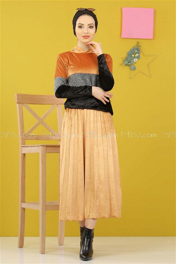2 pieces Tunic Skirt Silvery Velvet Combine Mustard - 8246