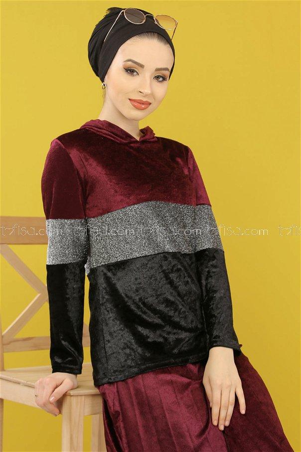 2 pieces Tunic Skirt Silvery Velvet Combine Purple - 8246