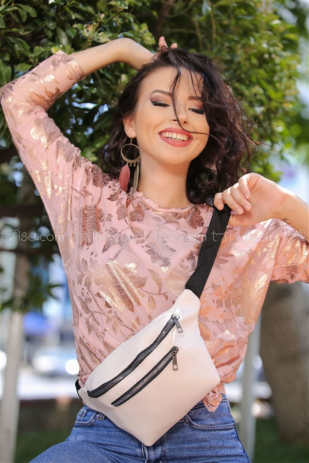 ( 2 pieces ) ** Tunic Tulle and bag Combine Powder White - 02 7468