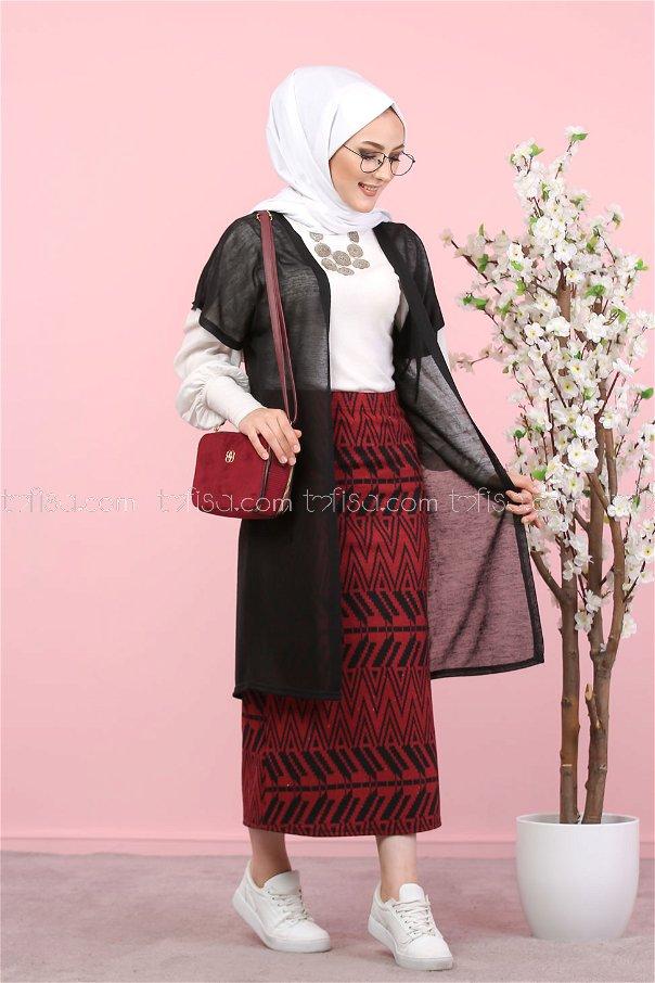 2 pieces Vest and Skirt Combine black claret red - 8266