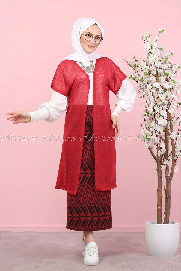 2 pieces Vest and Skirt Combine claret red - 8266