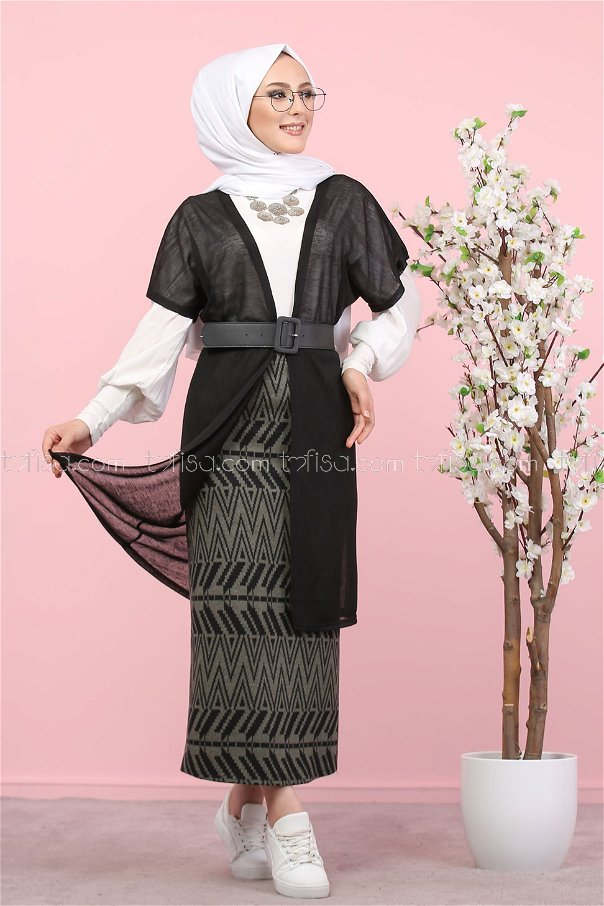 2 pieces Vest and Skirt Combine khaki - 8266