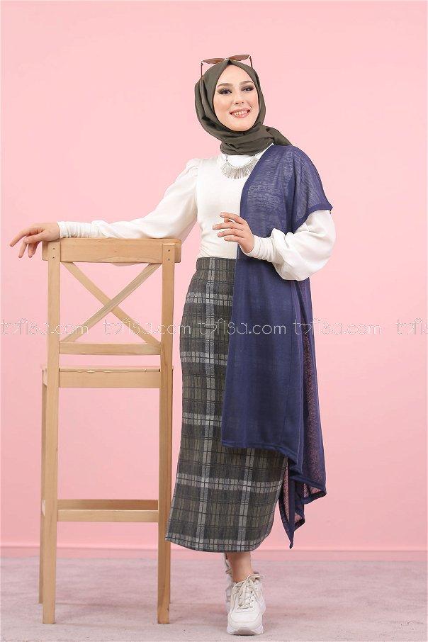 2 pieces Vest Skirt Combine navy blue - 8296