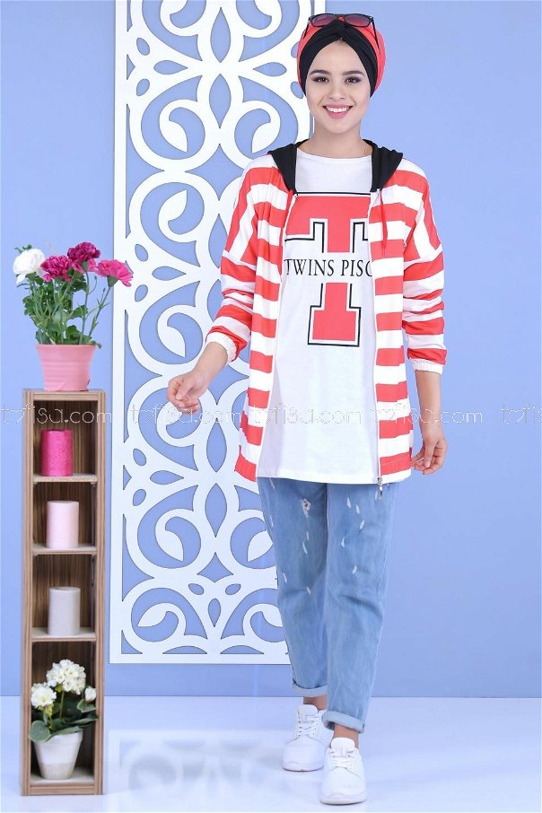 (2 pieces)**Cardigan Tunic RED-02 5123