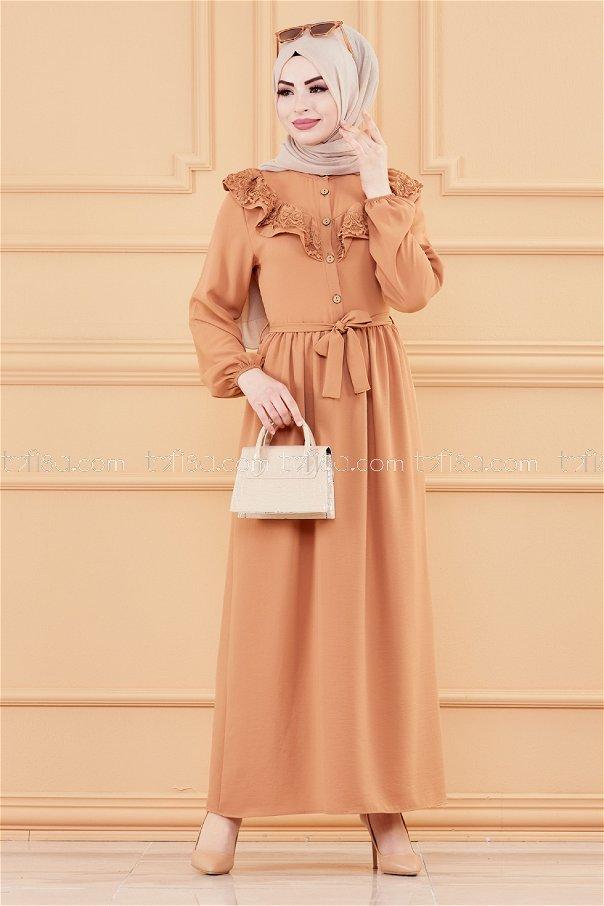 فستان لون بيج 20027