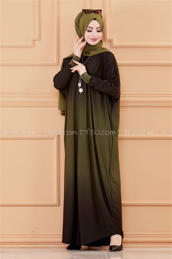 فستان لون زيتي 20034