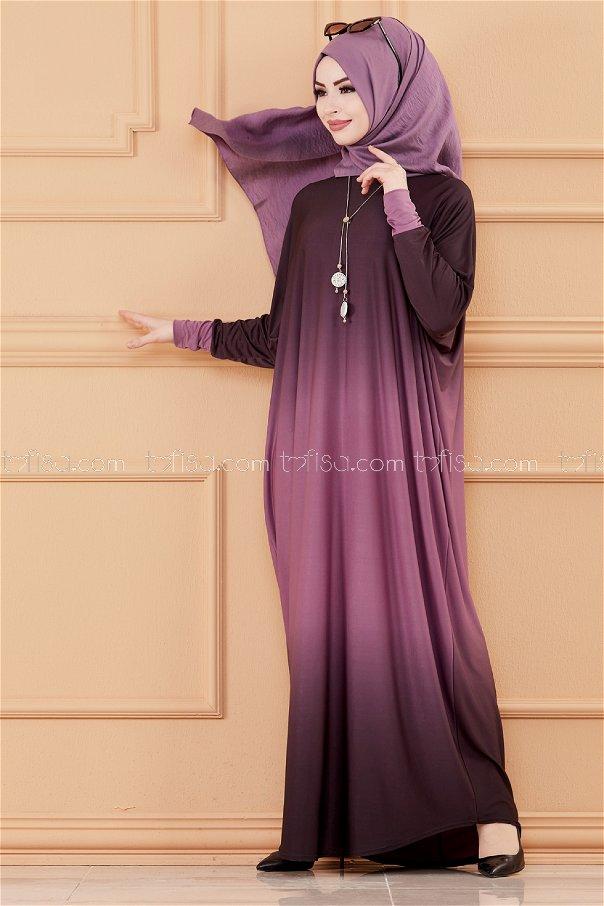 فستان لون موف 20034