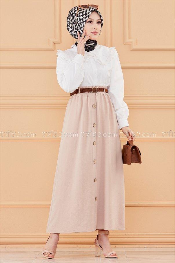 تنورة مزينة بأزرار بيج - 20038