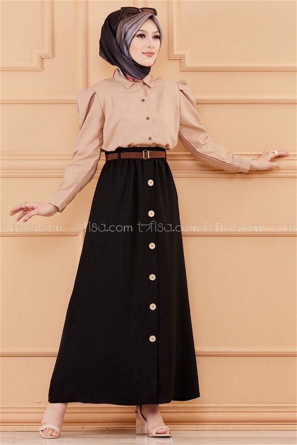 تنورة مزينة بأزرار اسود- 20038