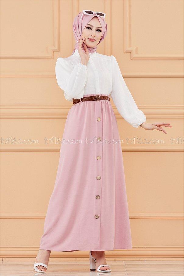 تنورة مزينة بأزرار وردي - 20038