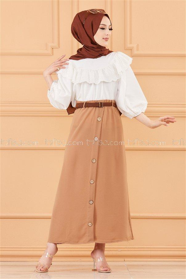 تنورة مزينة بأزرار بيج داكن - 20038