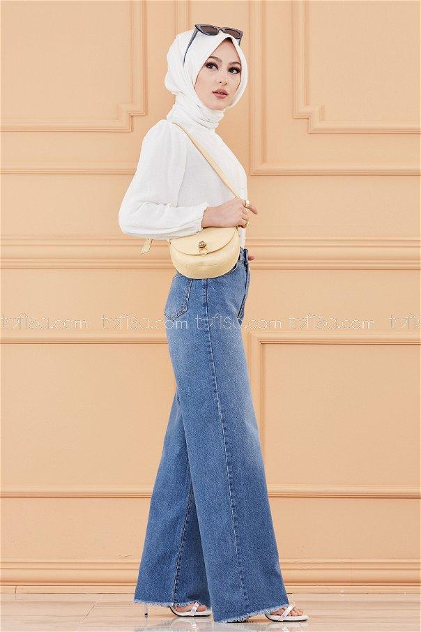 بنطلون جينز واسع الساق أزرق - 20066