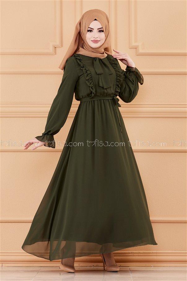 فستان لون زيتي 20103