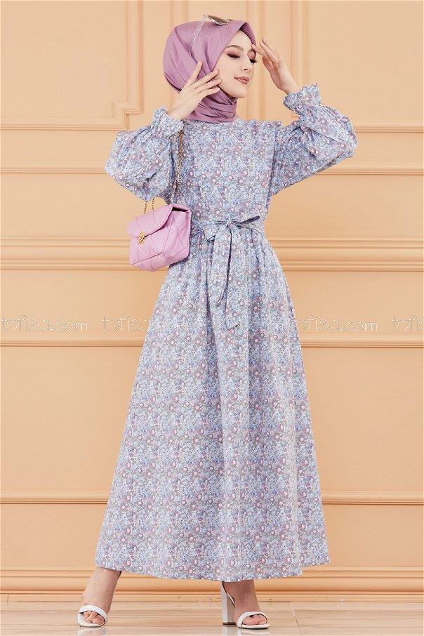 فستان لون ازرق فاتح 20107