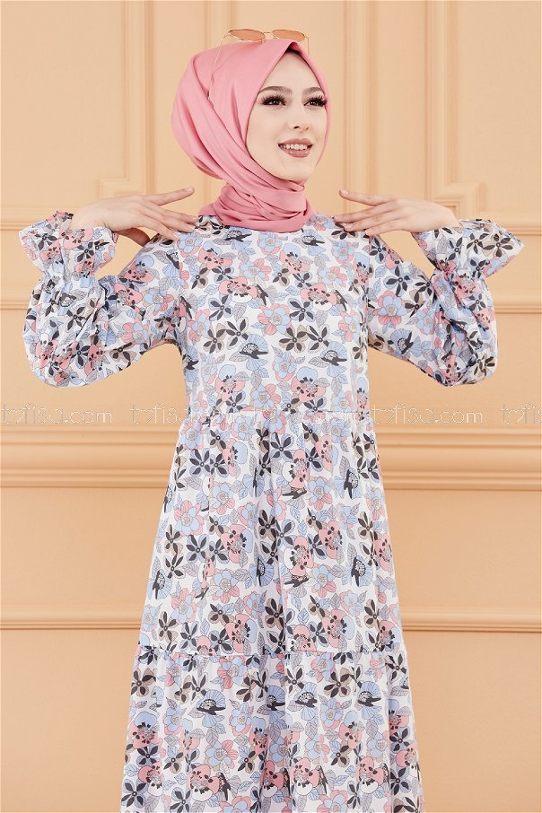 فستان لون ازرق فاتح 20108