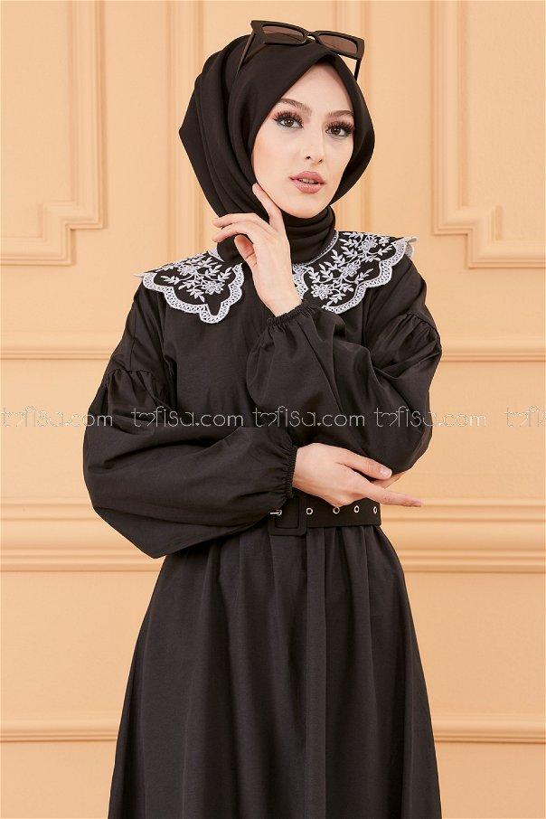 فستان بياقة لون أسود - 20151
