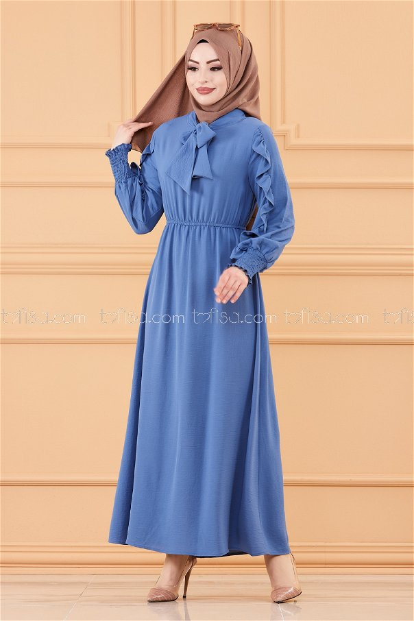 فستان بتفاصيل الكم ازرق داكن - 20162