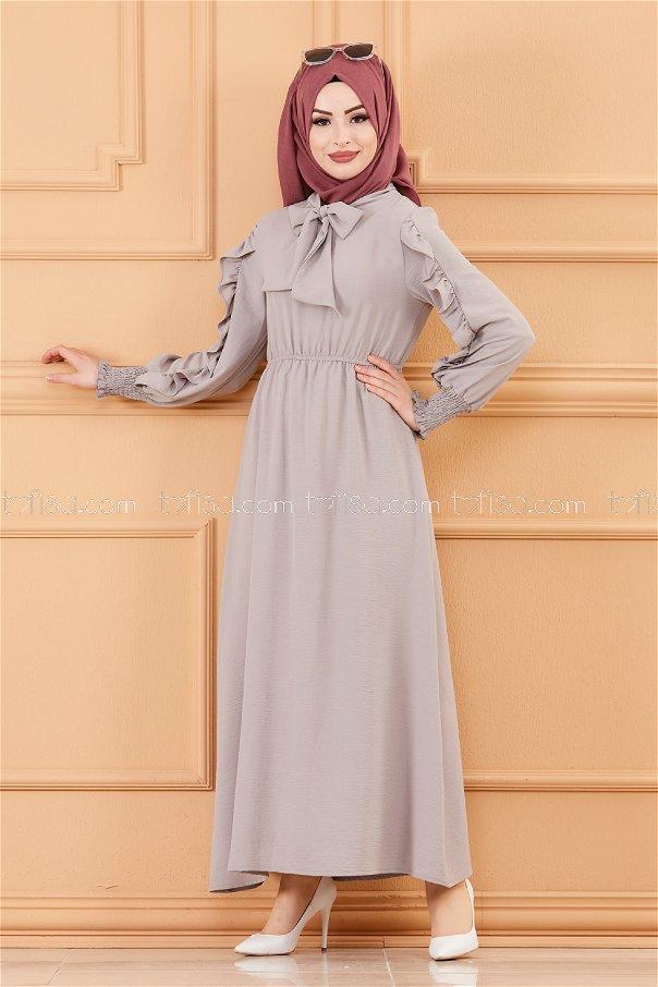 فستان بتفاصيل الأكمام رمادي - 20162