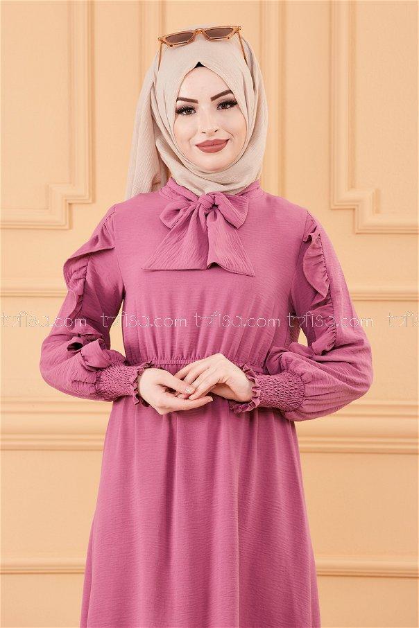 فستان بتفاصيل الكم ليلكي- 20162