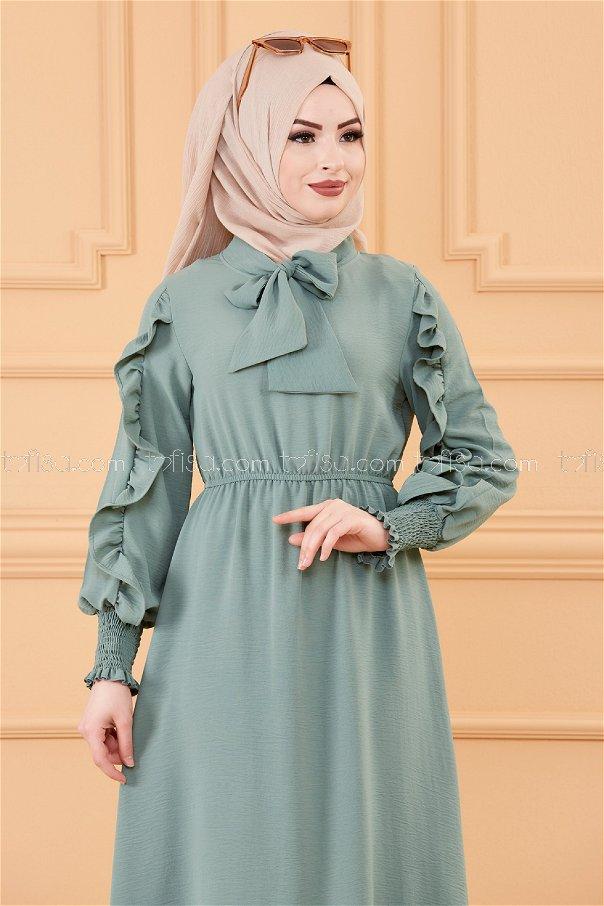 فستان بتفاصيل الكم ازرق فاتح - 20162